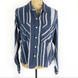 Sandy & Sid Striped Button Front Shirt NWT